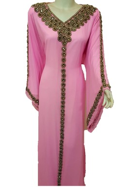 Pink georgette zari and stone work islamic kaftan