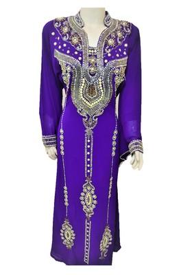 Purple georgette zari and stone work islamic kaftan
