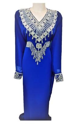 Blue georgette zari and stone work islamic kaftan