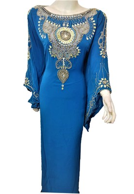 Turquoise georgette zari and stone work islamic kaftan