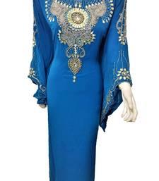 Turquoise georgette zari and stone work islamic kaftan