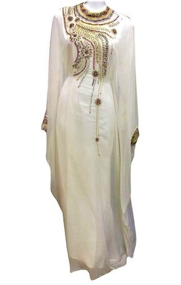 White georgette zari and stone work islamic kaftan