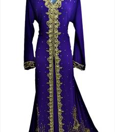 Dark blue georgette zari and stone work islamic kaftan