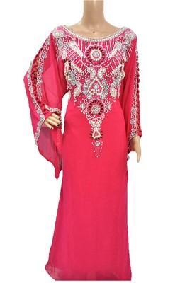 Pink georgette zari and stone work islamic kaftan