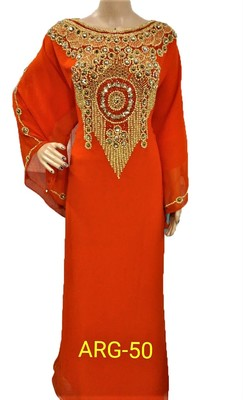 Orange georgette zari and stone work islamic kaftan