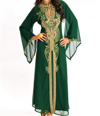 Green georgette zari and stone work islamic kaftan