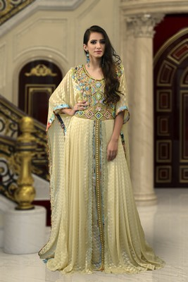 Beige Brasso And Creap Embroidered Islamic Kaftans