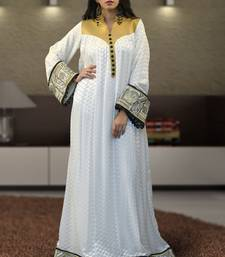 Off White Brasso And Creap Embroidered Islamic Kaftans