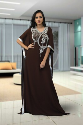 Brown Creap And Georgatte Embroidered Islamic Kaftans