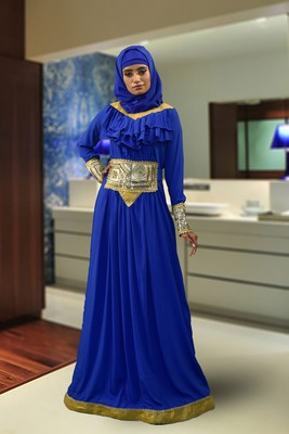 Blue Crap Embroidered Abaya