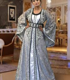 Gray and white brasso and creap and silk embroidered islamic kaftans