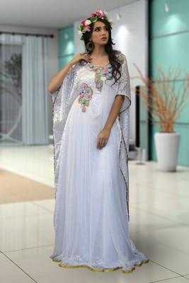 Off White Brasso And Crape And Net Embroidered Islamic Kaftans