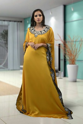 Yellow Satin And Shiffon Embroidered Islamic Kaftans