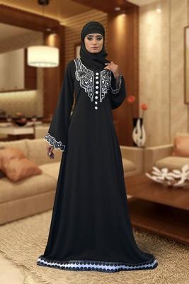 Black Creap And Silk Embroidered Islamic Kaftan