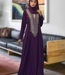 Violet Creap Embroidered Abaya