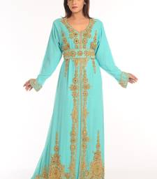 Turquoise Embroidered Georgette Islamic Kaftan