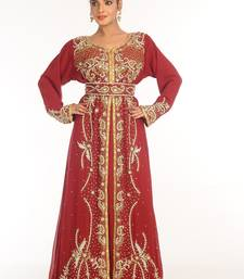 Red Embroidered Georgette Islamic Kaftan