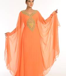 Peach Embroidered Georgette Islamic Kaftan