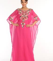 Pink Embroidered Georgette Islamic Kaftan