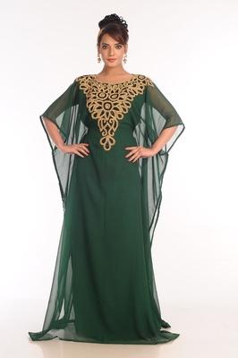 Bottle green embroidered georgette islamic kaftan
