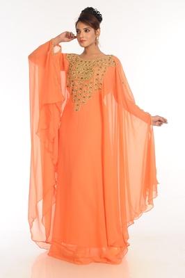Peach Embroidered Georgette Islamic Kaftan