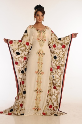 Cream And Red Embroidered Georgette Islamic Kaftan