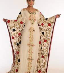 554ebab3df7 Cream and red embroidered georgette islamic kaftan