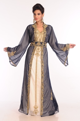 Inner cream and jacket black embroidered georgette islamic kaftan