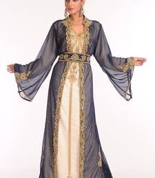 Inner Cream And Jacket Navy Blue Mix Embroidered Georgette Islamic Kaftan