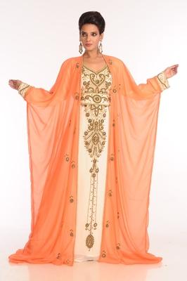 Inner Cream And Jacket Orange Embroidered Georgette Islamic Kaftan