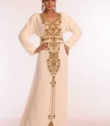 Cream embroidered georgette islamic kaftan