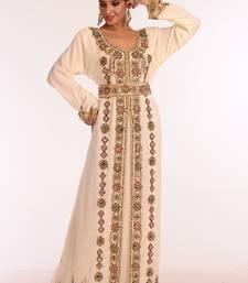 Cream Embroidered Georgette Islamic Kaftan