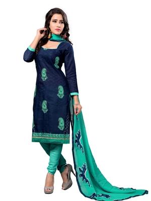 Navy-blue embroidered cotton salwar with dupatta