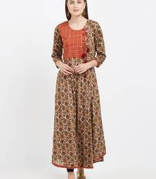 Beige printed rayon party-wear-kurtis