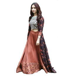 Buy multicolor printed  semi stitched lehenga with dupatta women-ethnic-wear online