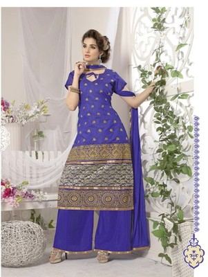 blue embroidered chanderi unstitched palazzo salwar with dupatta