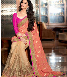 Buy Pink - beige embroidered viscose saree with blouse party-wear-saree online