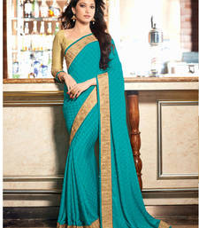 Buy blue embroidered jacquard saree with blouse party-wear-saree online