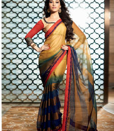 Buy Multicolour embroidered chiffon saree with blouse party-wear-saree online