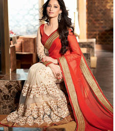 Buy beige - red embroidered net saree with blouse party-wear-saree online