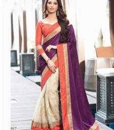 Purple - cream embroidered velvet saree with blouse shop online