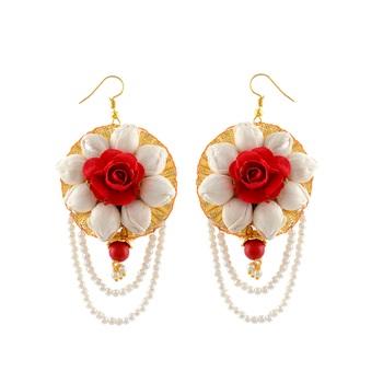 White Red Pearl Foam Flower Earring
