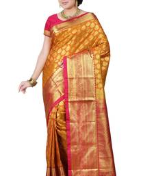 Orange zari woven art silk saree with blouse