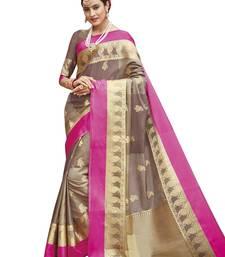 Brown woven banarasi silk saree with blouse banarasi-silk-saree