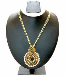 Buy Pearl Lined Studded Round Drop Necklace Set - Green necklace-set online