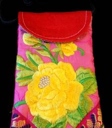 Buy hand EMBROIDERY multi colored flower mobile cover handbag online