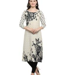 Buy White printed crepe kurti long-kurtis online