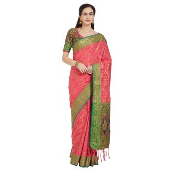 263b5ebfd0388d Pink woven tussar silk patola saree with blouse - Bhelpuri - 2657165