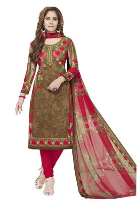 brown printed synthetic unstitched salwar with dupatta