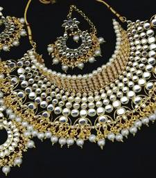 Buy Latest Desiger Kundan Choker Huge Bridal 4pc Full Jewelry Set necklace-set online
